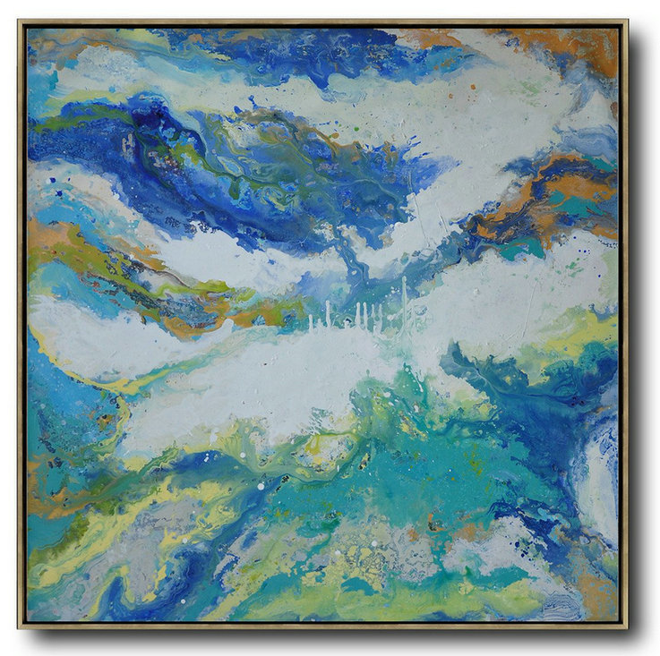 Extra Large Canvas Art,Contemporary Oil Painting,Hand Painted Original Art,White,Blue,Green.etc