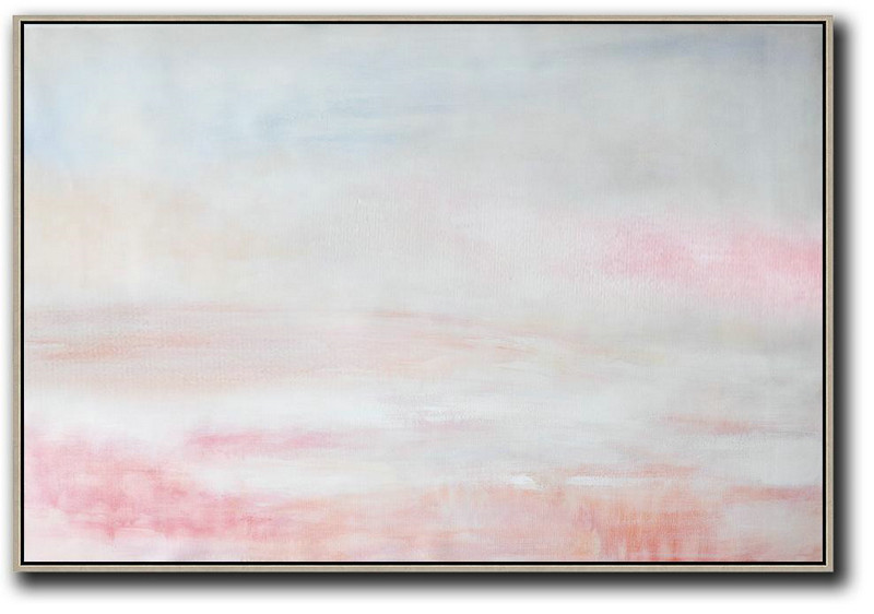 Handmade Painting Large Abstract Art,Oversized Horizontal Abstract Art,Original Art Acrylic Painting,Grey,Pink,White.etc