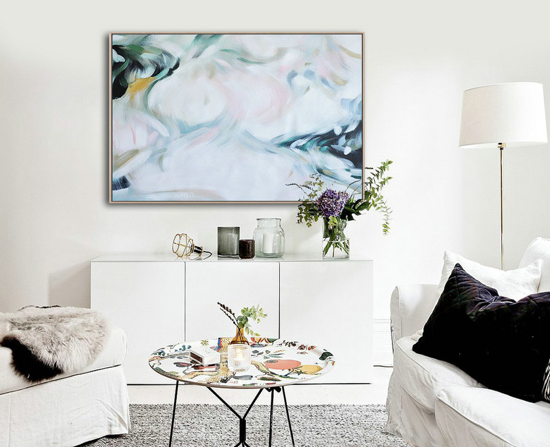 Original Artwork Extra Large Abstract Painting,Oversized Horizontal Abstract Art,Modern Wall Decor,White,Pink,Black,Green.etc