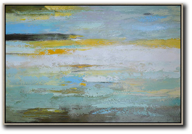 "Extra Large 72"" Acrylic Painting,Oversized Horizontal Contemporary Art,Acrylic Painting Large Wall Art,White,Yellow,Grey,Green.etc"