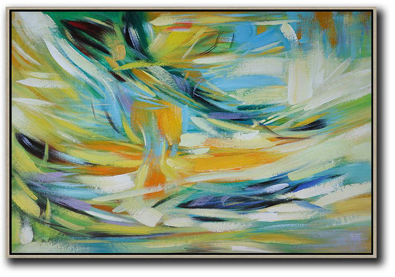 Large Abstract Art,Oversized Horizontal Contemporary Art,Large Wall Canvas,Yellow,Light Blue,Green,White.etc