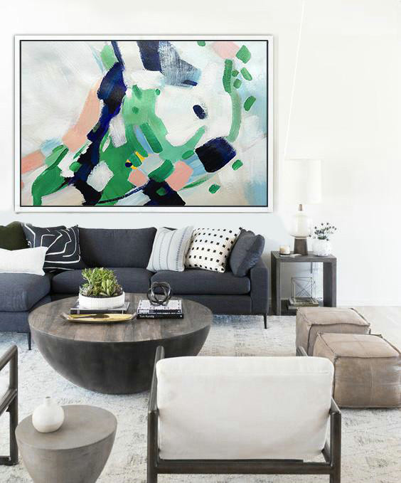 Hand Made Abstract Art,Oversized Horizontal Contemporary Art,Abstract Painting On Canvas,White,Pink,Dark Blue,Green.etc