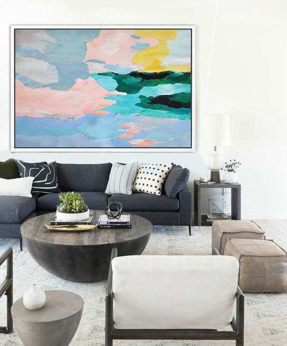 Large Abstract Painting,Oversized Horizontal Contemporary Art,Hand-Painted Contemporary Art,Pinl,Blue,Green,Yellow.etc