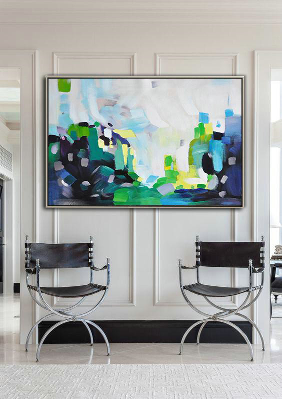 Extra Large Textured Painting On Canvas,Oversized Horizontal Contemporary Art,Extra Large Canvas Art,Handmade Acrylic Painting,White,Grey,Blue,Green.etc