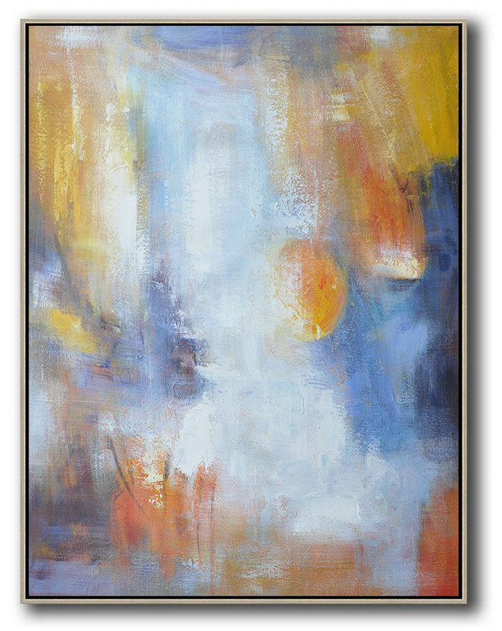 Extra Large Acrylic Painting On Canvas,Vertical Palette Knife Contemporary Art,Abstract Art On Canvas, Modern Art,White,Blue,Earthy Yellow.etc