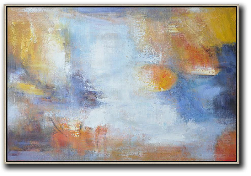 Extra Large Acrylic Painting On Canvas,Oversized Horizontal Contemporary Art,Large Abstract Wall Art,White,Blue,Yellow.etc