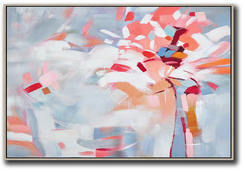 Large Abstract Art Handmade Oil Painting,Oversized Horizontal Contemporary Art,Modern Art Abstract Painting,White,Pink,Red,Grey.etc