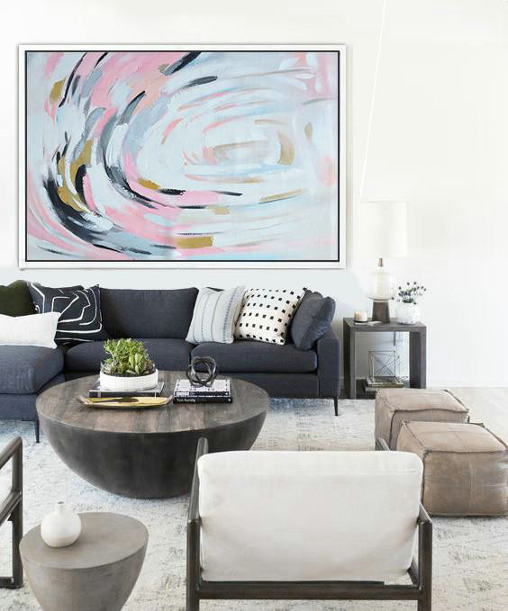 Abstract Painting Extra Large Canvas Art,Oversized Horizontal Palette Knife Abstract Floral Painting On Canvas,Huge Abstract Canvas Art,Pink,White,Yellow.etc