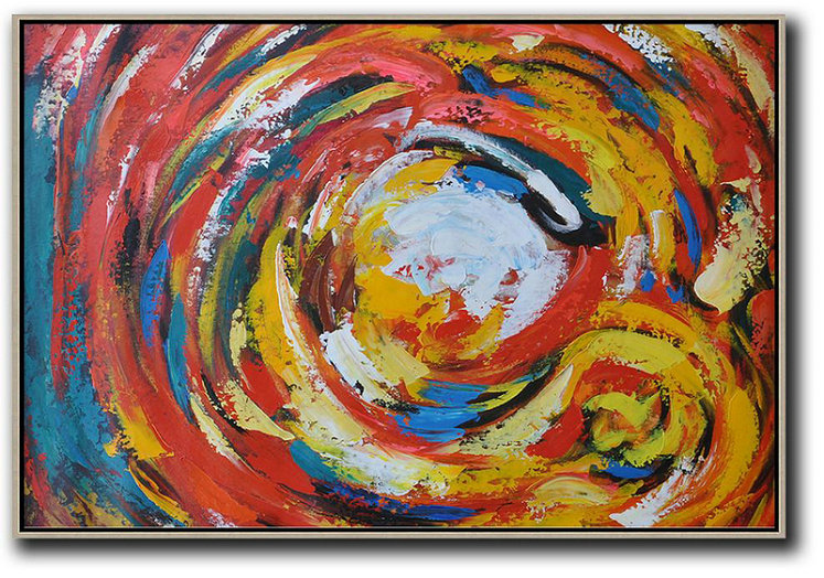 Handmade Large Painting,Oversized Horizontal Palette Knife Abstract Floral Painting On Canvas,Textured Painting Canvas Art,Red,White,Yellow.etc