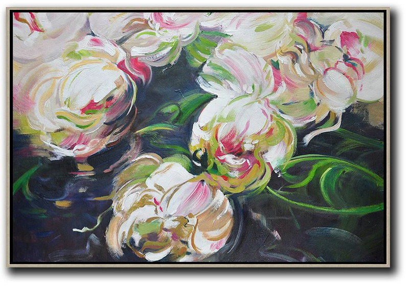 Large Abstract Painting On Canvas Horizontal Abstract Flower