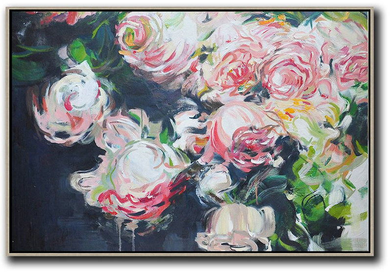 Extra Large Acrylic Painting On Canvas,Horizontal Abstract Flower Oil Painting,Big Canvas Painting,Red,White,Black,Green.etc