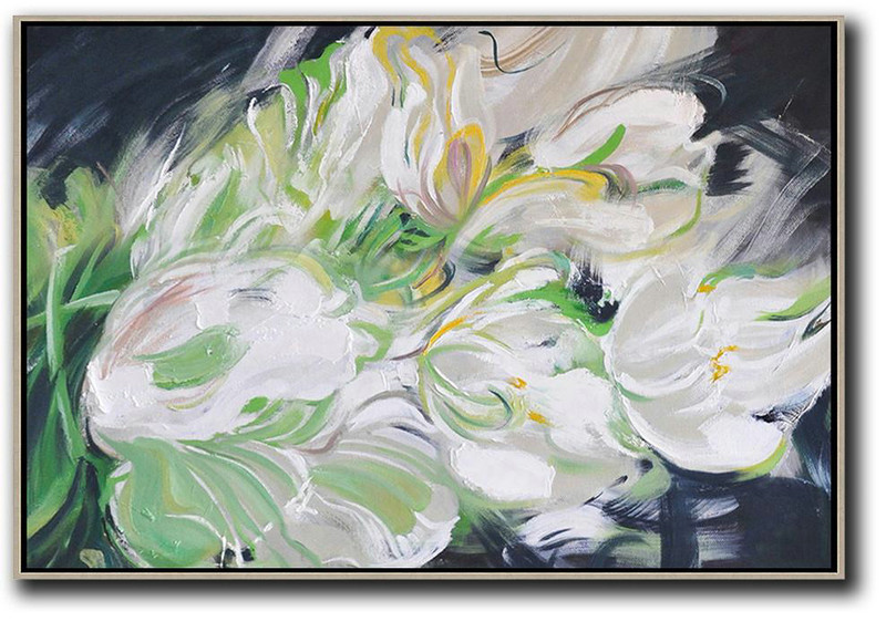 Large Abstract Painting,Horizontal Abstract Flower Oil Painting,Extra Large Artwork,White,Light Green,Grey,Black.etc