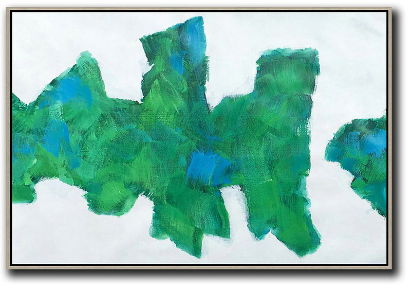 Large Abstract Painting Canvas Art,Horizontal Abstract Landscape Art,Hand Painted Original Art,White,Green,Blue.etc