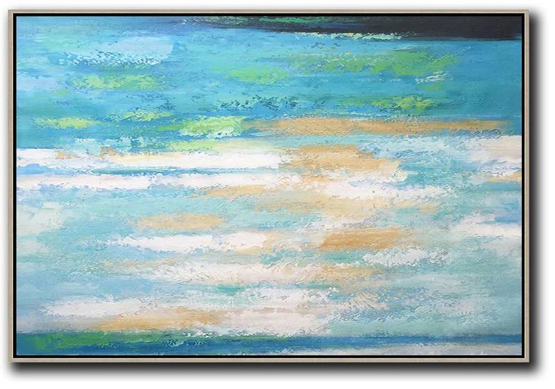 Abstract Painting Extra Large Canvas Art,Oversized Horizontal Abstract Landscape Art,Hand Painted Aclylic Painting On Canvas,Blue,Earthy Yellow,White.etc