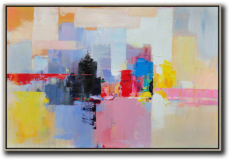 Handmade Large Contemporary Art,Horizontal Abstract Landscape Art,Canvas Artwork For Sale,White,Pink,Yellow,Black,Red.etc