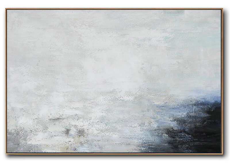 Large Contemporary Art Acrylic Painting,Hand Painted Oversized Horizontal Abstract Landscape Art On Canvas,Size Extra Large Abstract Art,White,Grey,Black.etc