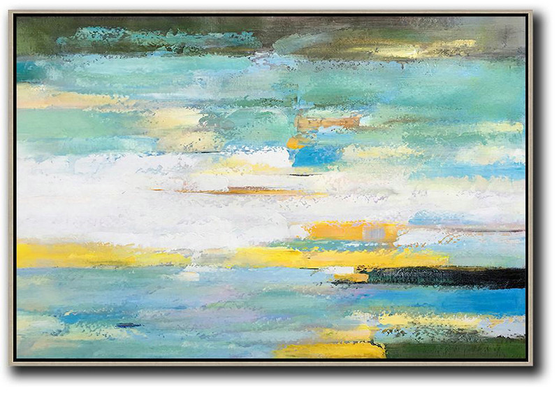 Extra Large Canvas Art,Oversized Horizontal Abstract Landscape Art,Modern Art Abstract Painting,White,Yellow,Light Green.etc