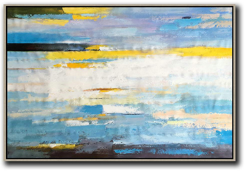 Large Abstract Art,Horizontal Abstract Landscape Art,Extra Large Wall Art,White,Yellow,Blue,Purple,Black.etc