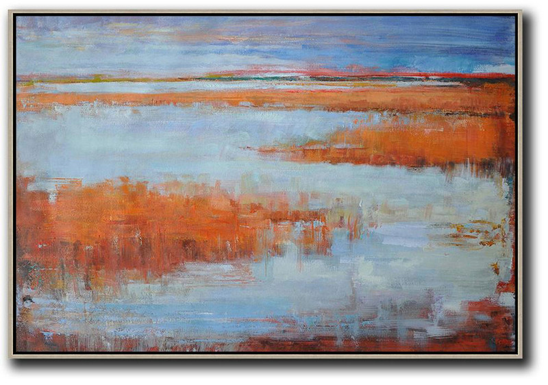 Extra Large Painting,Horizontal Abstract Landscape Oil Painting On Canvas,Acrylic Painting On Canvas,Blue,Orange,Grey,Red.etc