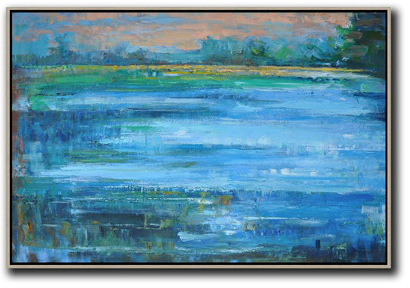 Large Abstract Painting Canvas Art,Horizontal Abstract Landscape Oil Painting On Canvas,Modern Canvas Art,Nude,Light Blue,Green,Yellow.etc