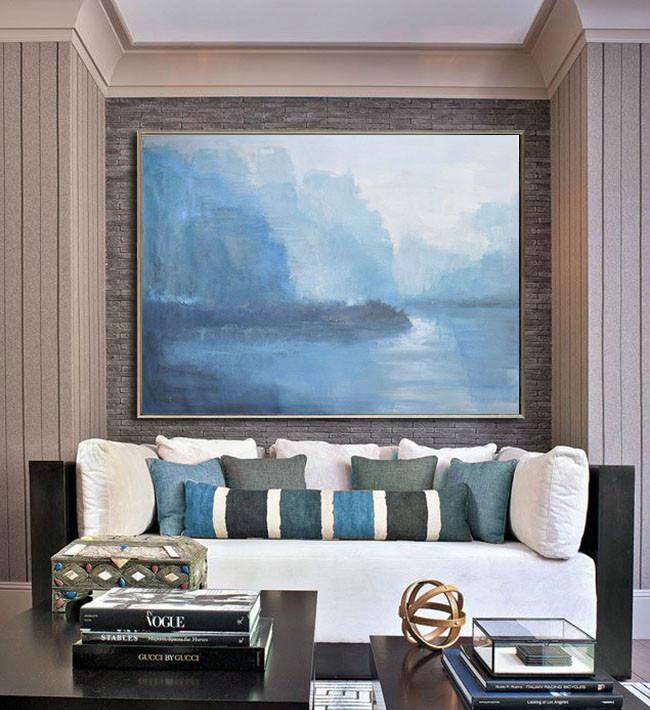 Extra Large Textured Painting On Canvas,Horizontal Abstract Landscape Oil Painting On Canvas,Large Canvas Wall Art For Sale,Purple Grey,Light Blue,White.etc - Click Image to Close