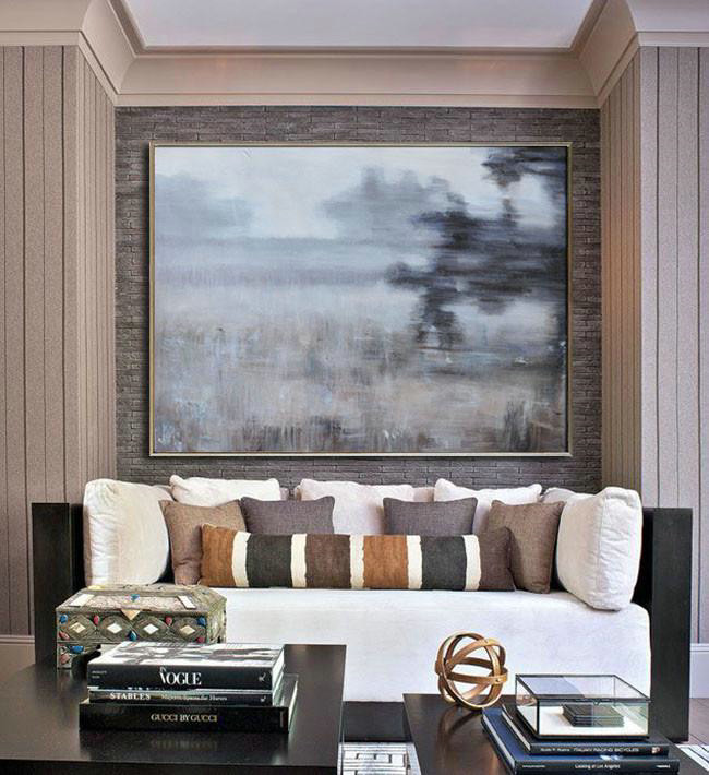 Handmade Large Contemporary Art,Horizontal Abstract Landscape Oil Painting On Canvas,Canvas Paintings For Sale,Grey,Black,Brown.etc
