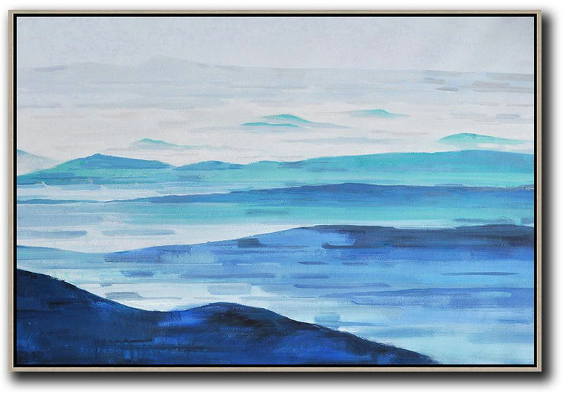 Oversized Canvas Art On Canvas,Horizontal Abstract Landscape Oil Painting On Canvas,Modern Paintings On Canvas,Grey,Light Blue,Dark Blue.etc