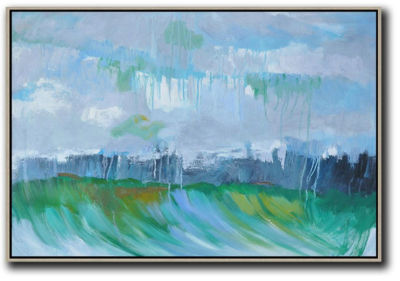Large Contemporary Art Acrylic Painting,Horizontal Abstract Landscape Oil Painting On Canvas,Large Living Room Wall Decor,Grey,Dark Blue,Green.etc