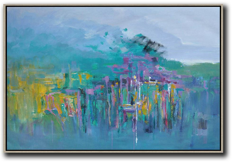 Large Abstract Art,Horizontal Abstract Landscape Oil Painting On Canvas,Colorful Wall Art,Blue,Yellow,Grey,Purple.etc