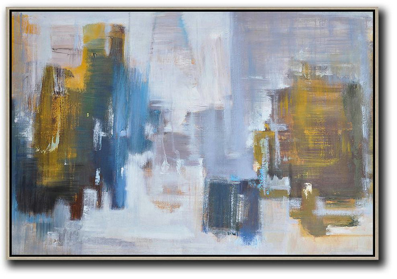 Extra Large Abstract Painting On Canvas,Horizontal Abstract Landscape Oil Painting On Canvas,Large Living Room Decor,White,Blue,Earthy Yellow,Grey.etc