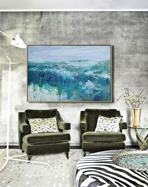 "Extra Large 72"" Acrylic Painting,Horizontal Abstract Landscape Oil Painting On Canvas,Contemporary Art Wall Decor,Blue,Grey,Green.etc"