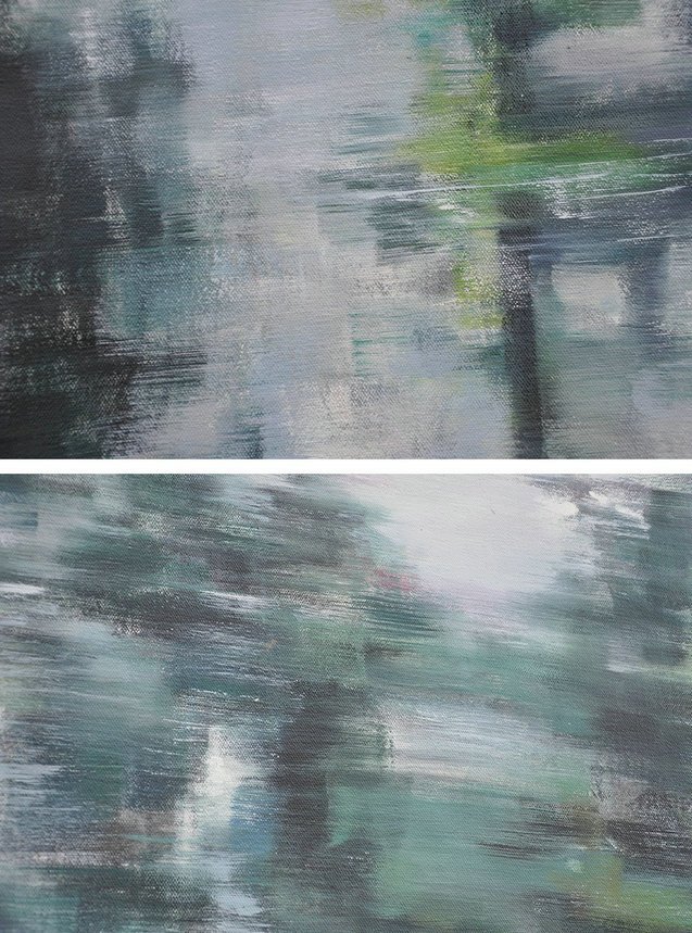 Large Abstract Art,Horizontal Abstract Landscape Oil Painting On Canvas,Unique Canvas Art,Grey,Dark Green,White.etc