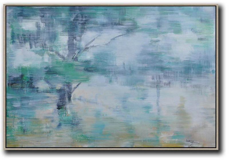 Original Artwork Extra Large Abstract Painting,Horizontal Abstract Landscape Oil Painting On Canvas,Big Painting,Grey,Green,Yellow.etc