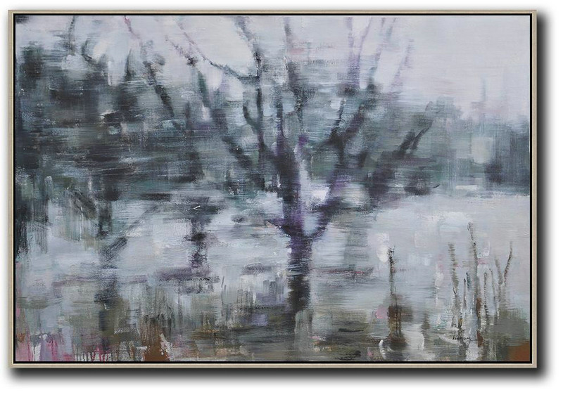 Extra Large Acrylic Painting On Canvas,Horizontal Abstract Landscape Oil Painting On Canvas,Hand Paint Large Clean Modern Art,Grey,Purple,Dark Green.etc