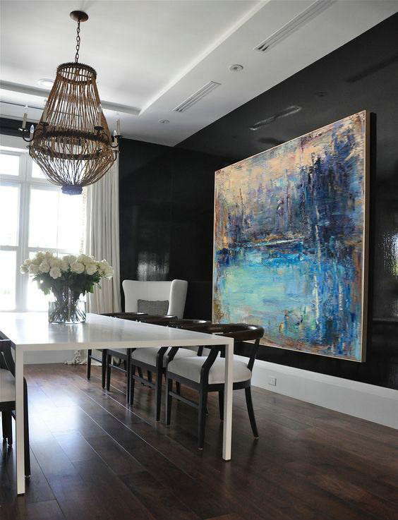 Abstract Painting Extra Large Canvas Art,Horizontal Abstract Landscape Oil Painting On Canvas,Giant Canvas Wall Art,Yellow,Dark Blue,Brown.etc