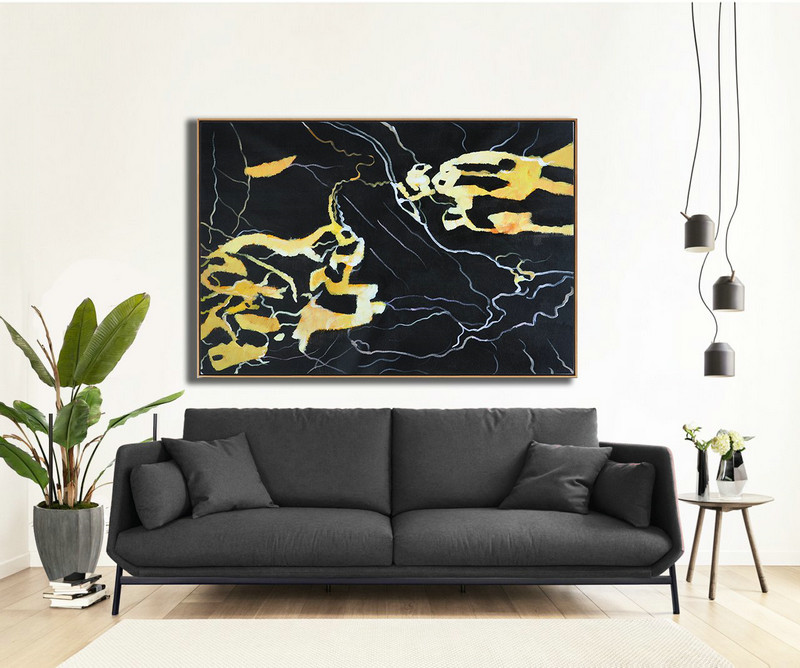 Extra Large Abstract Painting On Canvas,Hand Painted Oversized Horizontal Abstract Marble Art On Canvas,Large Canvas Art,Modern Art Abstract Painting,Earthy Yellow ,Black,White.etc