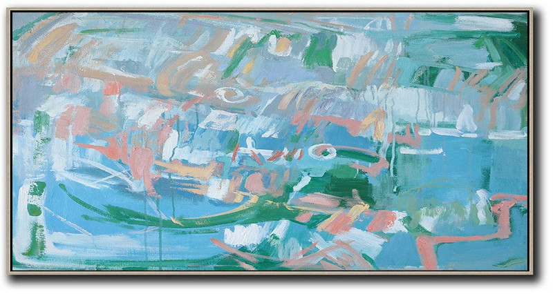 Hand Painted Extra Large Abstract Painting,Panoramic Abstract Oil Painting On Canvas,Original Abstract Painting Canvas Art,Blue,Green,Pink,White.etc