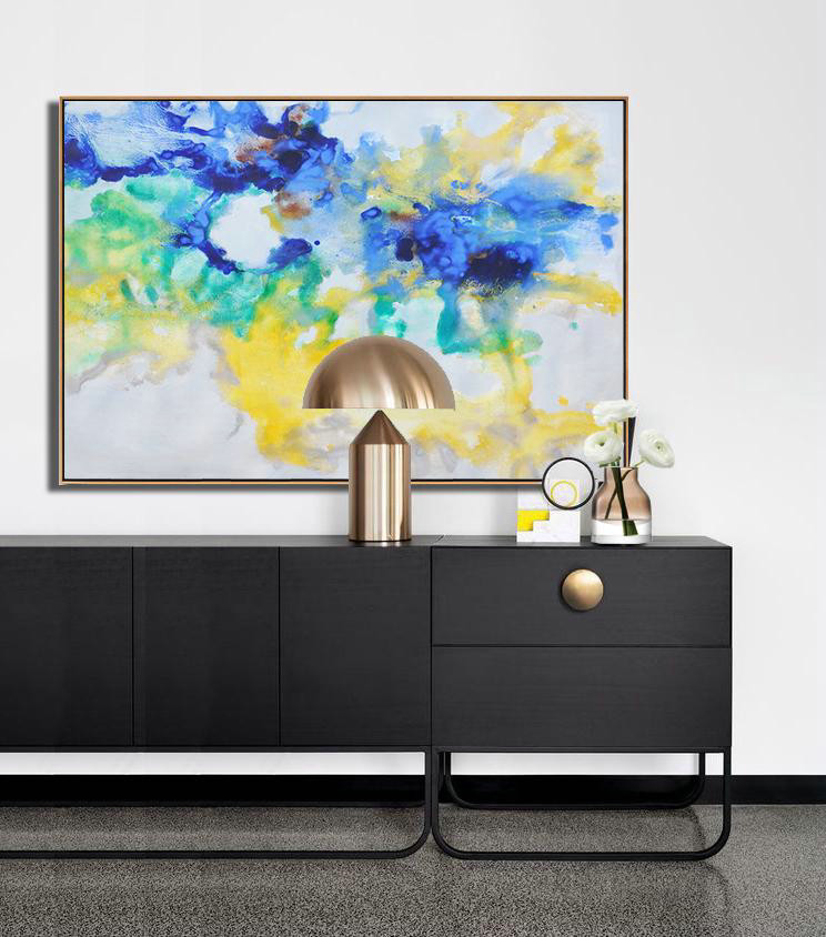 Large Abstract Painting Canvas Art,Hand Painted Horizontal Abstract Oil Painting On Canvas,Hand-Painted Canvas Art,Blue,Yellow,Green,Grey.etc