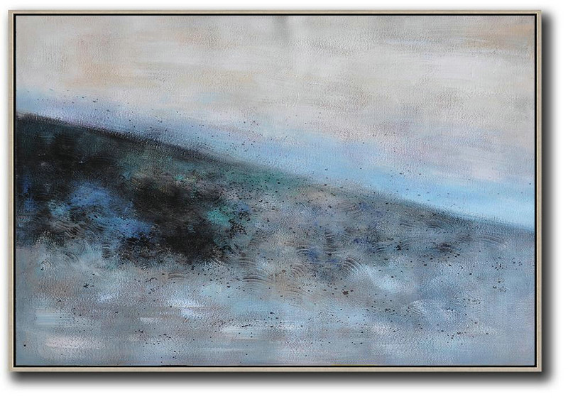 Handmade Large Contemporary Art,Oversized Horizontal Contemporary Art,Hand Paint Abstract Painting,Grey,Blue,Black.etc