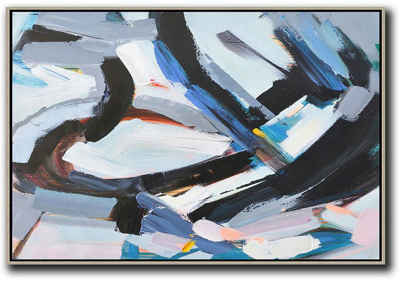 Large Modern Abstract Painting,Horizontal Palette Knife Contemporary Art,Large Colorful Wall Art,White,Grey,Dark Blue,Black.etc