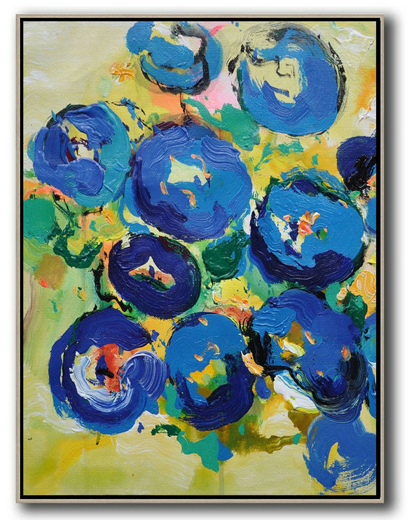 Large Abstract Art Handmade Oil Painting,Vertical Palette Knife Contemporary Art,Xl Large Canvas Art,Yellow,Blue,Pink,Green.etc