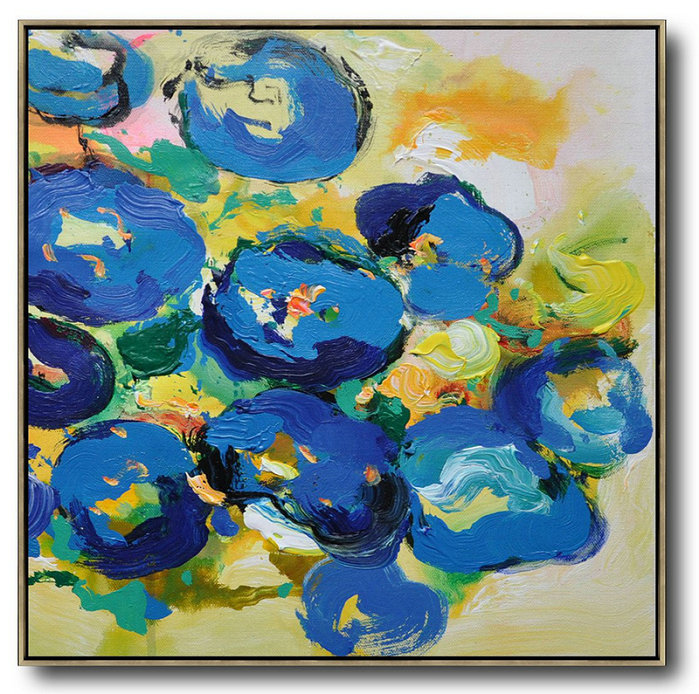 Oversized Canvas Art On Canvas,Oversized Palette Knife Painting Abstract Flower Painting On Canvas,Colorful Wall Art,Yellow,Blue,Green.etc