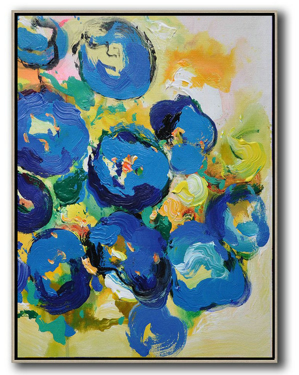 Large Abstract Art,Vertical Palette Knife Contemporary Art,Hand Paint Large Clean Modern Art,Yellow,Blue,Pink,Green.etc
