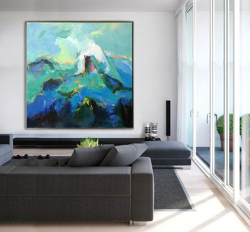 Large Abstract Art Handmade Oil Painting,Oversized Palette Knife Painting Contemporary Art On Canvas,Canvas Wall Paintings,Blue.Green,White.etc