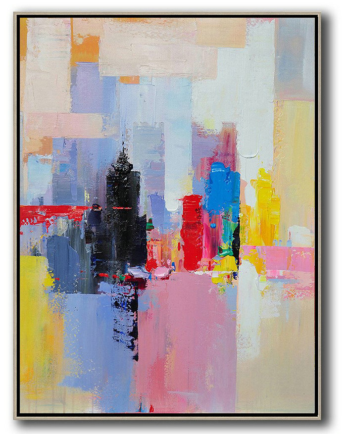 Handmade Extra Large Contemporary Painting,Vertical Palette Knife Contemporary Art,Acrylic Painting Large Wall Art,Black,Red,Pink,Yellow.etc