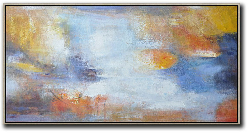 Oversized Canvas Art On Canvas,Horizontal Palette Knife Contemporary Art,Large Living Room Wall Decor,Blue,White,Yellow.etc