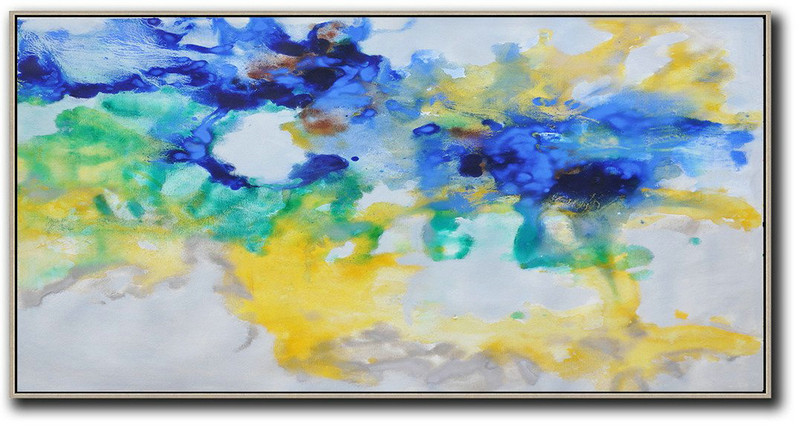 Huge Abstract Painting On Canvas,Hand Painted Panoramic Abstract Oil Painting On Canvas,Hand Painted Original Art,Grey,Yellow,Blue,Green.etc