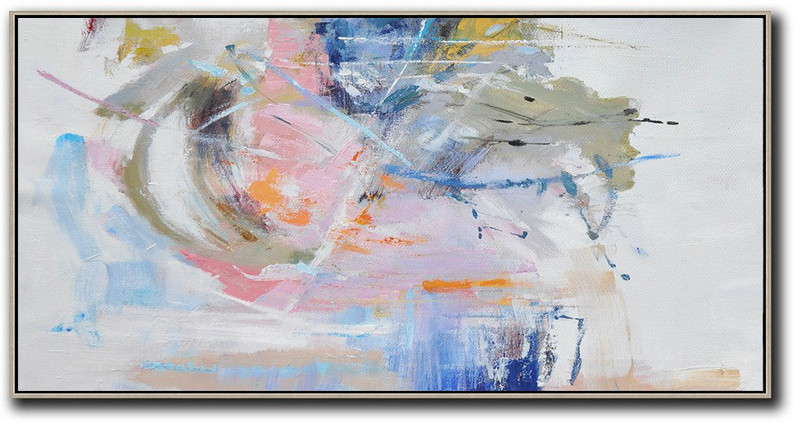 Large Modern Abstract Painting,Panoramic Abstract Art On Canvas,Huge Abstract Canvas Art,Grey,White,Blue,Green.etc
