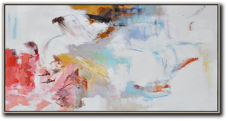 "Extra Large 72"" Acrylic Painting,Hand Painted Panoramic Abstract Art On Canvas,Abstract Painting Modern Art,White,Grey,Pink,Red,Earthy Yellow.etc"