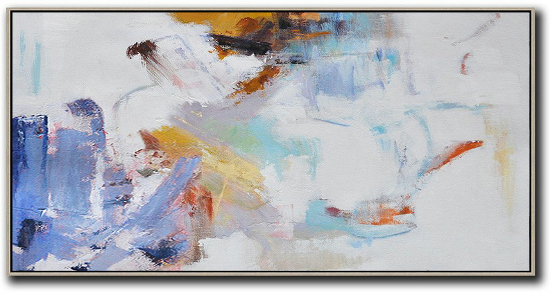 Handmade Painting Large Abstract Art,Horizontal Abstract Art On Canvas,Living Room Wall Art,White,Blue,Grey,Earthy Yellow.etc